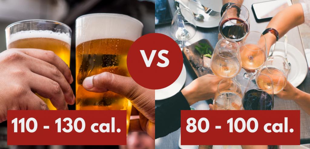 verre de bière vs verre de vin - calories