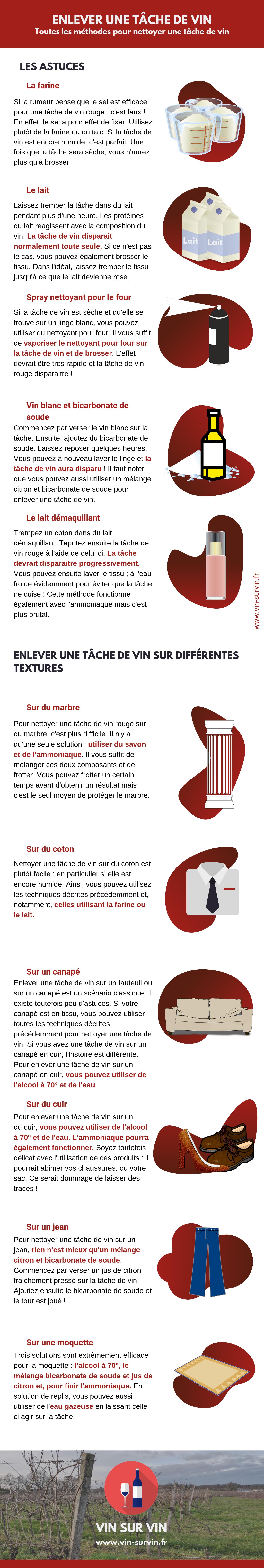 Enlever une tâche de vin _ comment nettoyer une tâche de vin - infographie