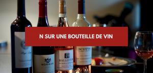 N sur bouteille de vin
