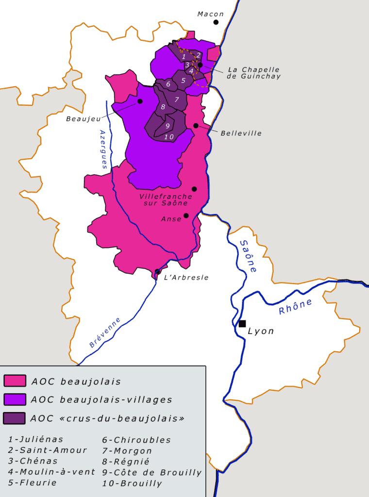 Carte du vignoble du Beaujolais Nouveau